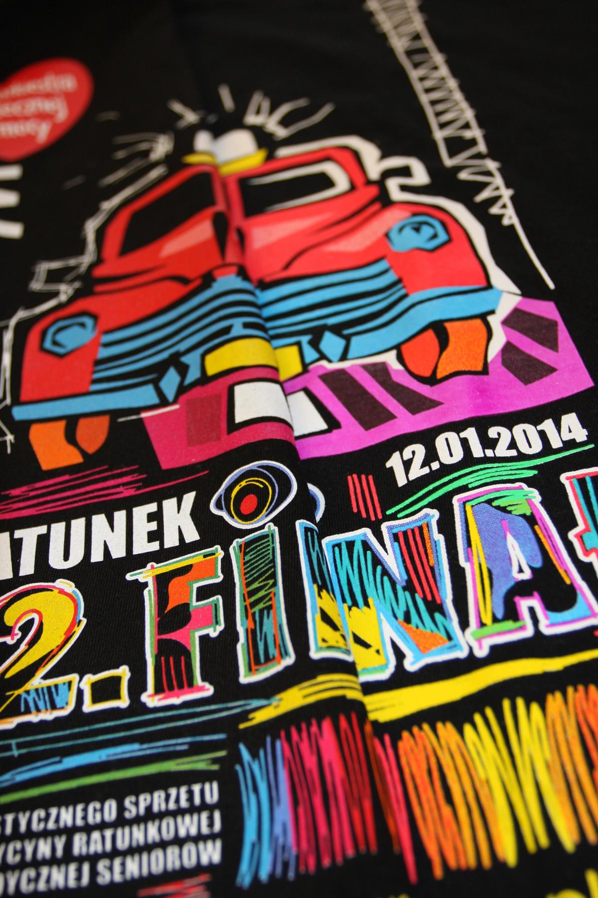WOŚP 22 Finał - koszulka, sitodruk, projekt i wykonanie Agraf