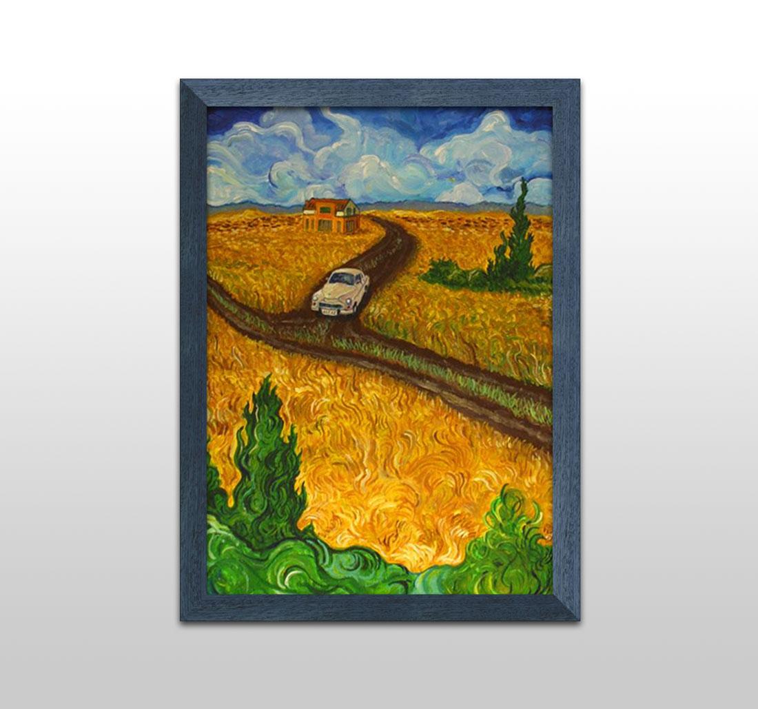Agraf w słonecznikach - obraz na płótnie, akryl, pędzel